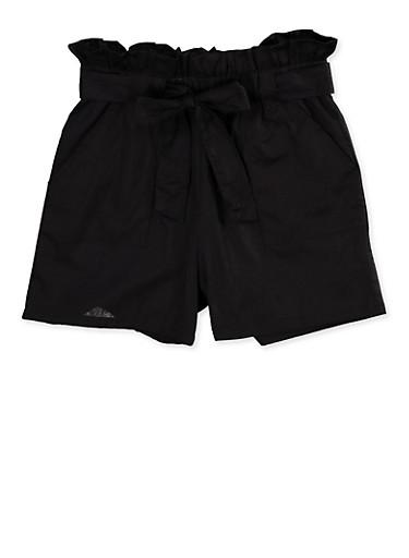 Girls 7-16 Paper Bag Waist Shorts   1621038340093,BLACK,large