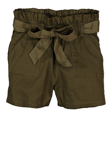 Girls 7-16 Paper Bag Waist Shorts | 1621038340095,OLIVE,large