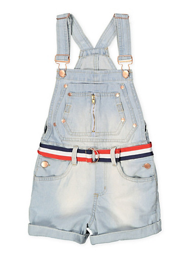 Girls 7-16 Belted Denim Shortalls,LIGHT WASH,large