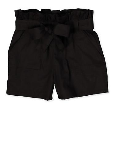 Girls 7-16 Paper Bag Waist Shorts | 1621038340116,BLACK,large