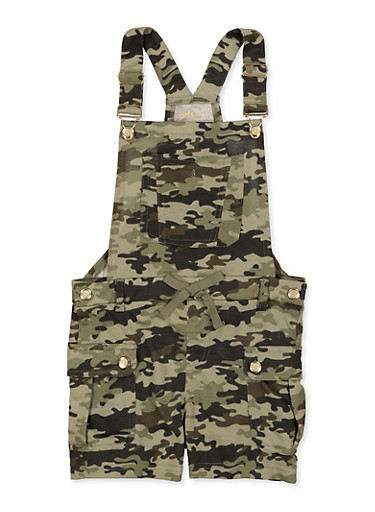 Girls 7-16 Camo Shortalls,OLIVE,large