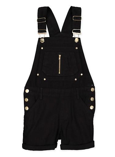 Girls 7-16 Solid Zip Denim Shortalls,BLACK,large