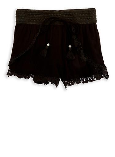 Girls 7-16 Crochet Trim Gauze Knit Shorts,BLACK,large