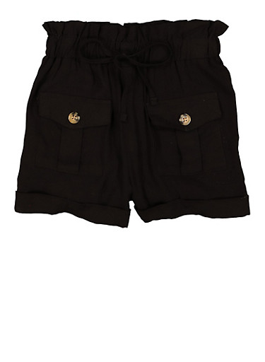 Girls Tie Front Paper Bag Waist Shorts,BLACK,large