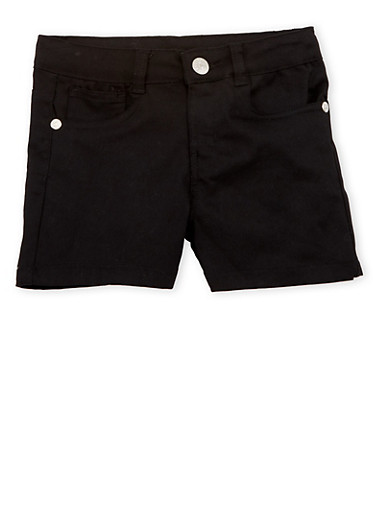Girls 4-16 Black Twill Shorts,BLACK,large
