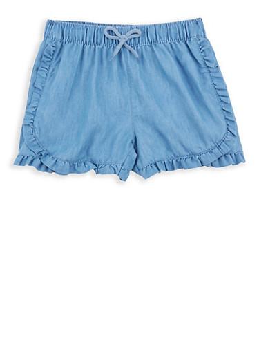 Girls 7-16 Ruffled Denim Shorts,MEDIUM WASH,large
