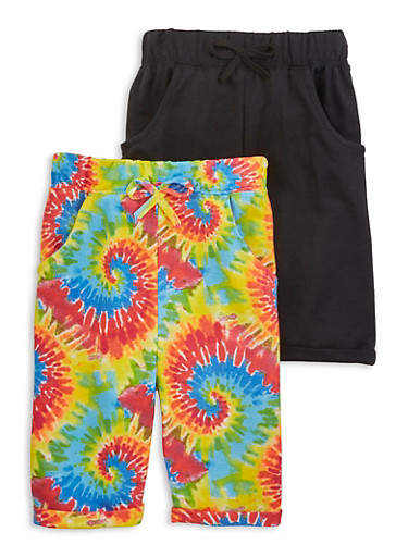 Girls 2 Pack Swirl Tie Dye Bermuda Shorts,BLACK,large