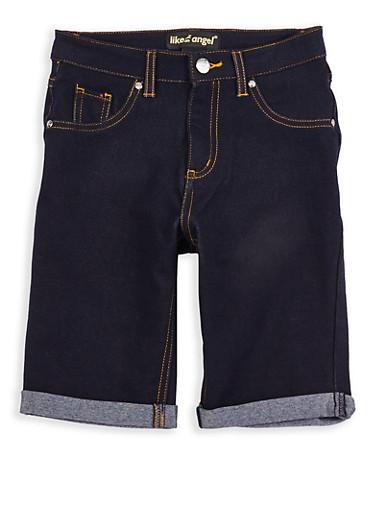 Girls 7-16 Denim Knit Bermuda Shorts,DENIM,large