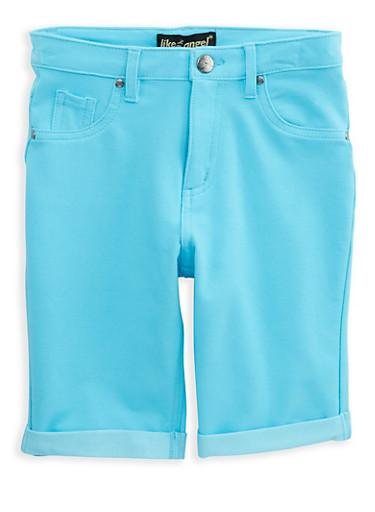 Girls 7-16 Stretch Bermuda Shorts,TURQUOISE,large