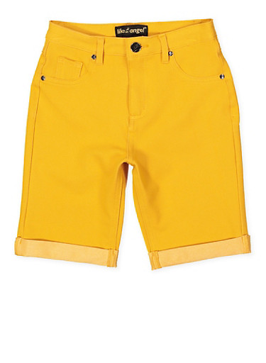 Girls 7-16 Knit Denim Bermuda Shorts | Mustard,MUSTARD,large