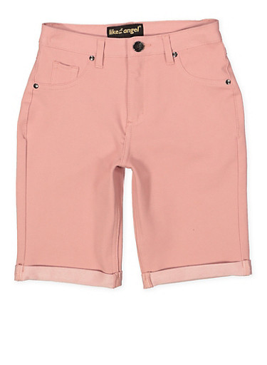 Girls 7-16 Stretch Bermuda Shorts | Mauve,MAUVE,large