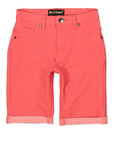 Girls 7-16 Knit Denim Bermuda Shorts | Coral,CORAL,large