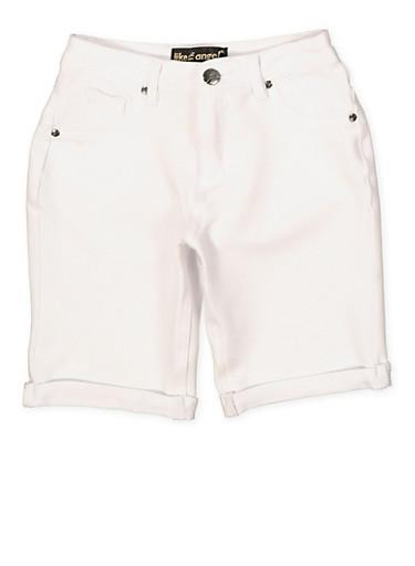 Girls 7-16 Cuffed Denim Knit Bermuda Shorts | 1621056570049,WHITE,large