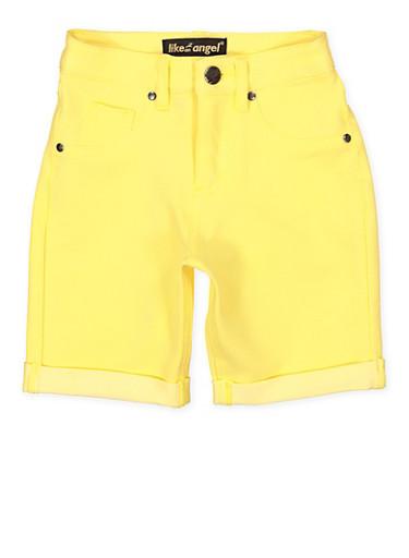 Girls 7-16 Denim Knit Bermuda Shorts | Yellow,YELLOW,large