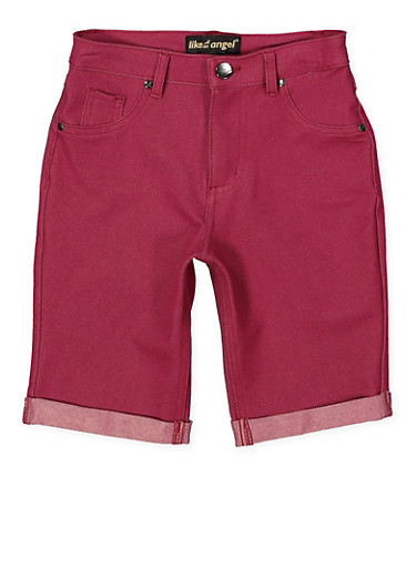 Girls 7-16 Stretch Bermuda Shorts | Wine,WINE,large