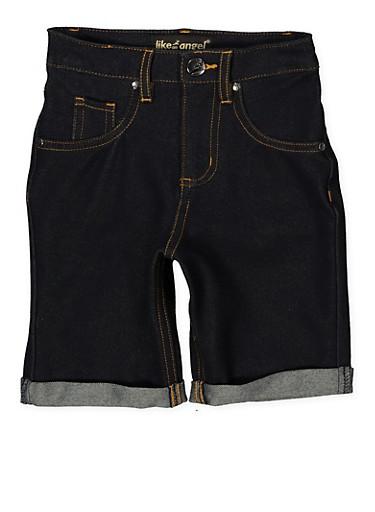 Girls 7-16 Denim Knit Bermuda Shorts | 1621056570053,DENIM,large