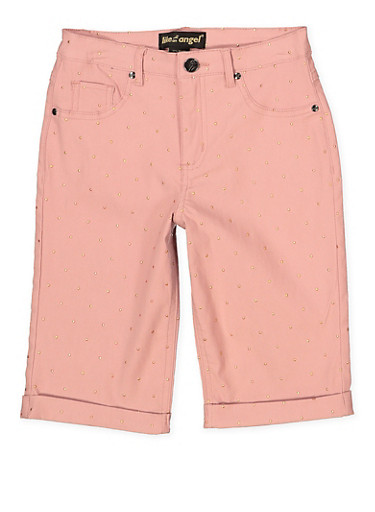 Girls 7-16 Studded Hyperstretch Bermuda Shorts | Mauve,MAUVE,large