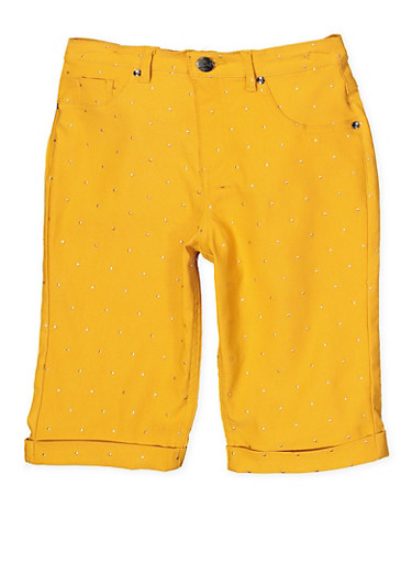 Girls 7-16 Studded Hyperstretch Bermuda Shorts | Mustard,MUSTARD,large