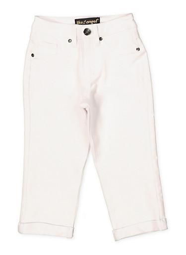 Girls 7-16 Denim Knit Capri Jeggings | 1621056570059,WHITE,large