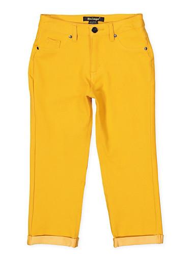Girls 7-16 Fixed Cuff Stretch Pants   Mustard,MUSTARD,large