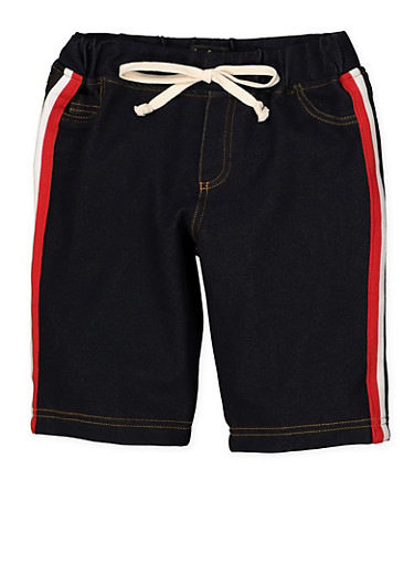 Girls 7-16 Striped Tape Denim Knit Bermuda Shorts | 1621056570061,RED,large