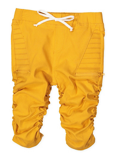 Girls 7-16 Ruched Hyperstretch Capri Jeggings | Mustard,MUSTARD,large