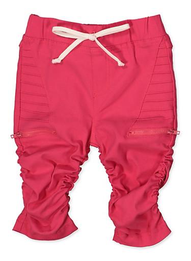 Girls 7-16 Ruched Moto Bermuda Shorts,FUCHSIA,large