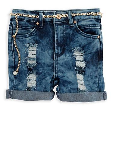 Girls 7-16 Acid Wash Denim Shorts with Belt,LIGHT WASH,large