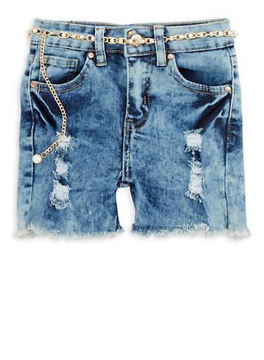 Girls 7-16 Belted Frayed Hem Denim Shorts,LIGHT WASH,large