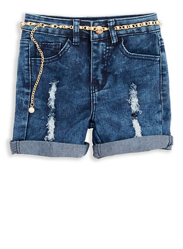 Girls 7-16 Faux Pearl Chain Denim Shorts,DENIM,large