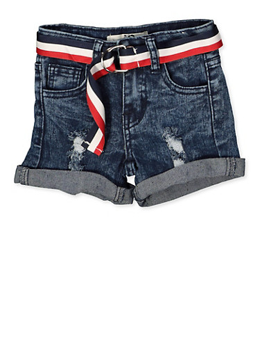 Girls 7-16 Striped Belt Frayed Denim Shorts,DENIM,large