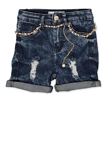 Girls 7-16 Faux Pearl Belted Jean Shorts | 1621056720028,DENIM,large