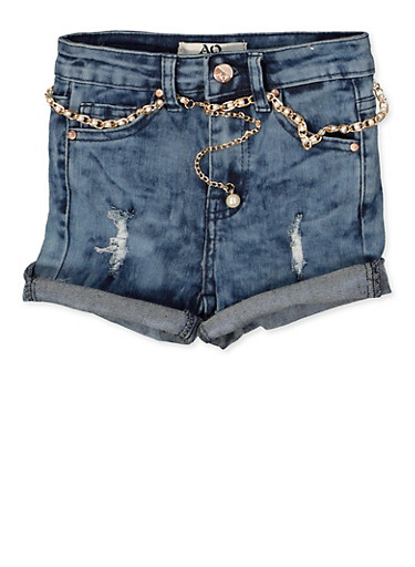 Girls 7-16 Faux Pearl Belted Denim Shorts,DENIM,large
