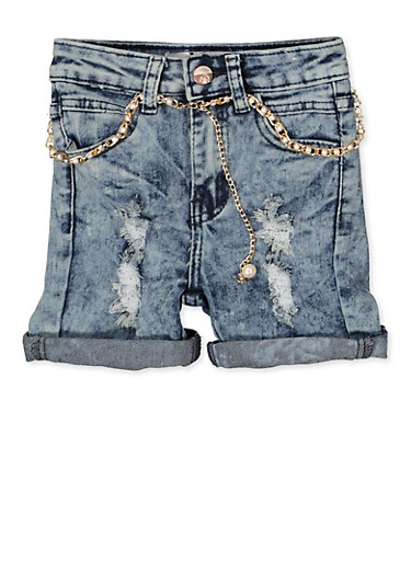 Girls 7-16 Faux Pearl Belted Jean Shorts,DENIM,large