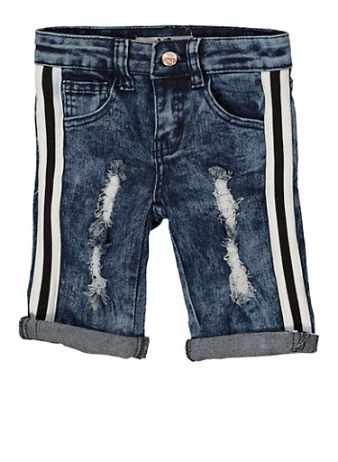 Girls 7-16 Striped Tape Trim Bermuda Shorts,DENIM,large