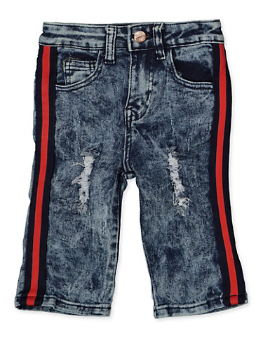 Girls 7-16 Tape Trim Frayed Bermuda Shorts,DENIM,large