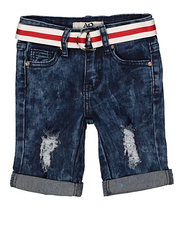 Girls 7-16 Striped Belt Denim Bermuda Shorts | 1621056720042,DENIM,large