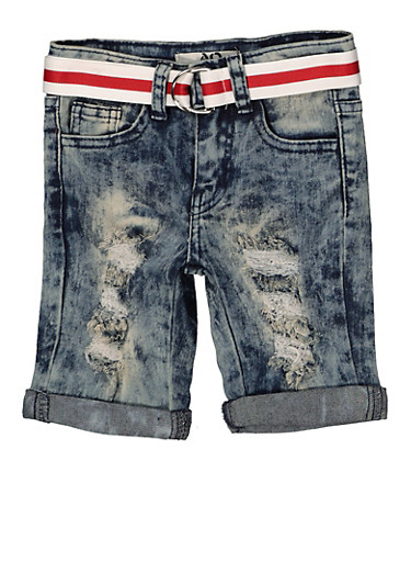 Girls 7-16 Striped Belt Denim Bermuda Shorts,DENIM,large