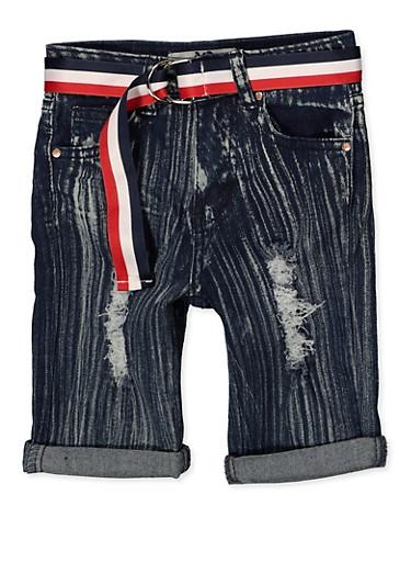 Girls 7-16 Striped Belt Bermuda Shorts,DENIM,large