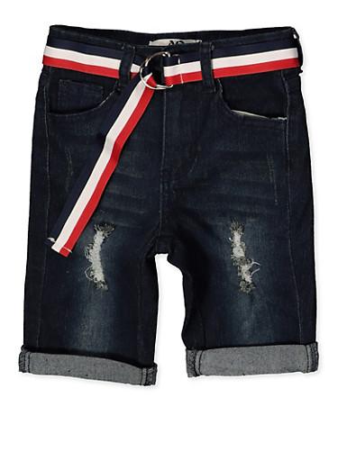 Girls 7-16 Striped Belt Roll Cuff Bermuda Shorts,DENIM,large