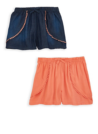 Girls 7-16 Set of 2 Shorts,CORAL,large