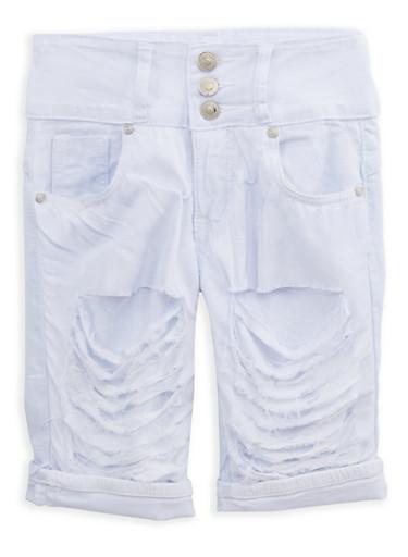 Girls 7-16 White Patch and Repair Bermuda Shorts,WHITE,large