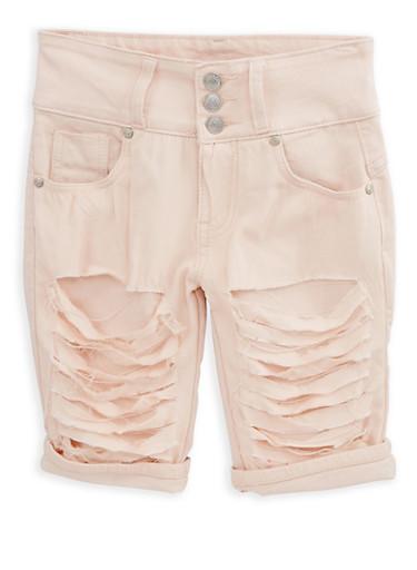 Girls 7-16 Blush Patch and Repair Bermuda Shorts,BLUSH,large