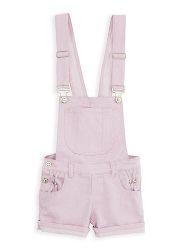 Girls 7-16 Hyperstretch Shortalls,PINK,large