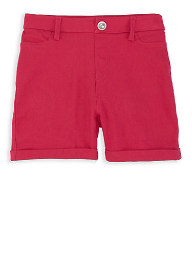 Girls 7-16 Hyperstretch Shorts,PINK,large
