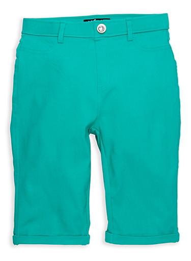 Girls 7-16 Rhinestone Studded Hyperstretch Bermuda Shorts,JADE,large