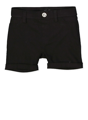 Girls 7-16 Hyperstretch Fixed Cuff Shorts,BLACK,large