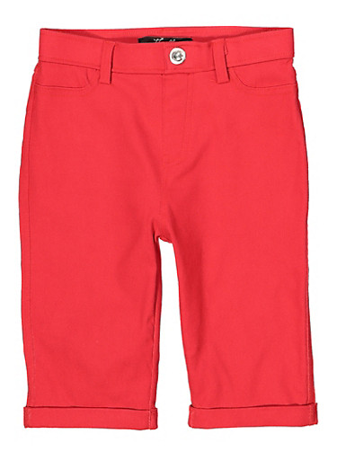 Girls 7-16 Hyperstretch Bermuda Shorts | Red,RED,large