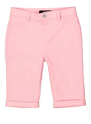 Girls 7-16 Hyperstretch Bermuda Shorts,BLUSH,large