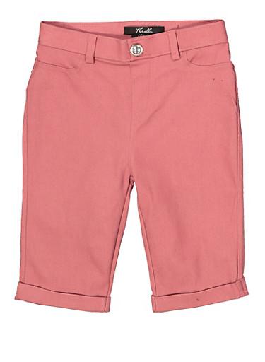 Girls 7-16 Hyperstretch Bermuda Shorts   Mauve,MAUVE,large
